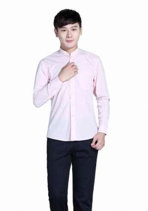 粉色立领商务长袖衬衫
